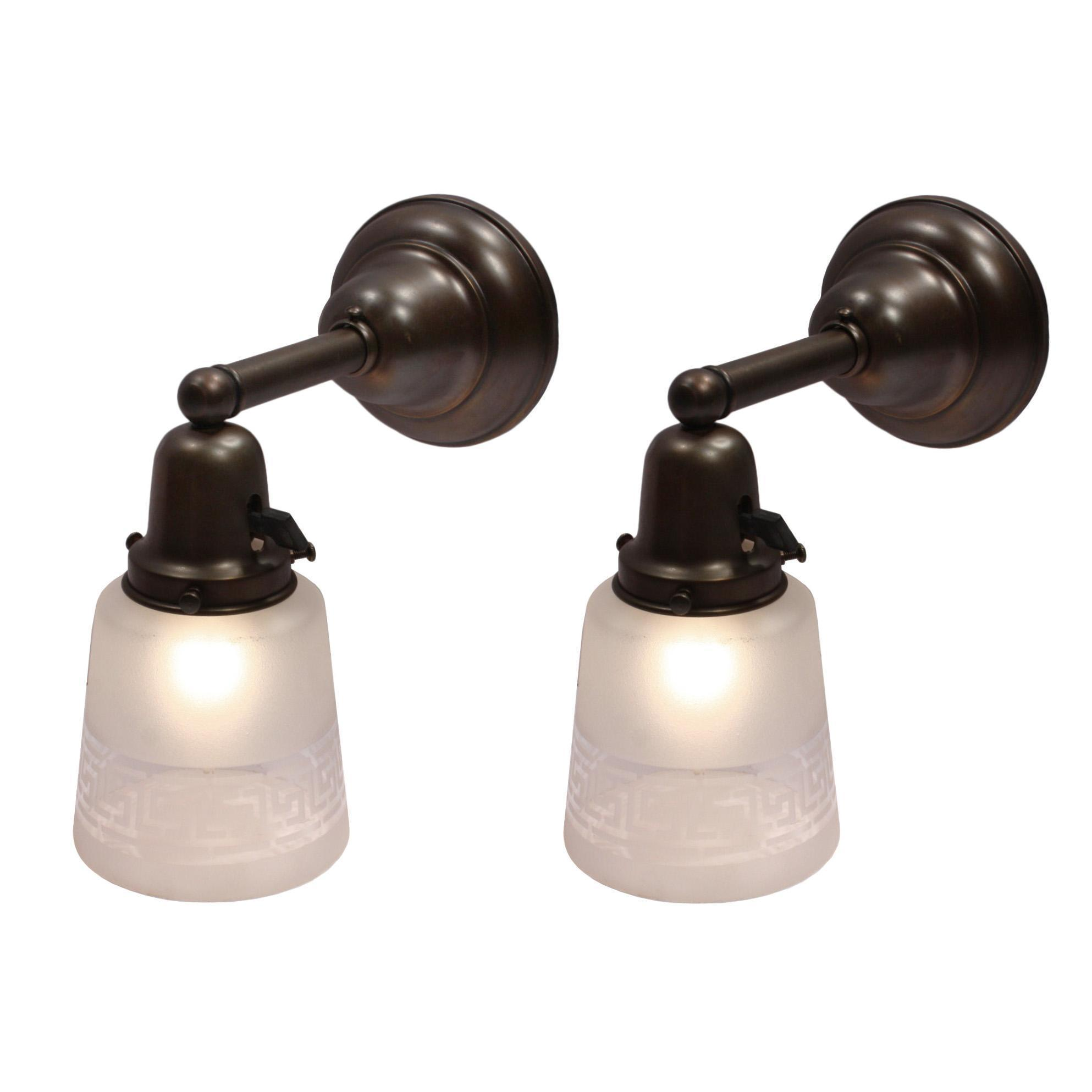 Pair of Antique Sconces with Greek Key Shades, Early 1900s