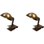 "Antique Pair of ""Adjusto-Lite"" Lamps by Farberware, Early 1900s"
