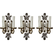 Antique Silver Plated Double-Arm Sconces, c. 1910