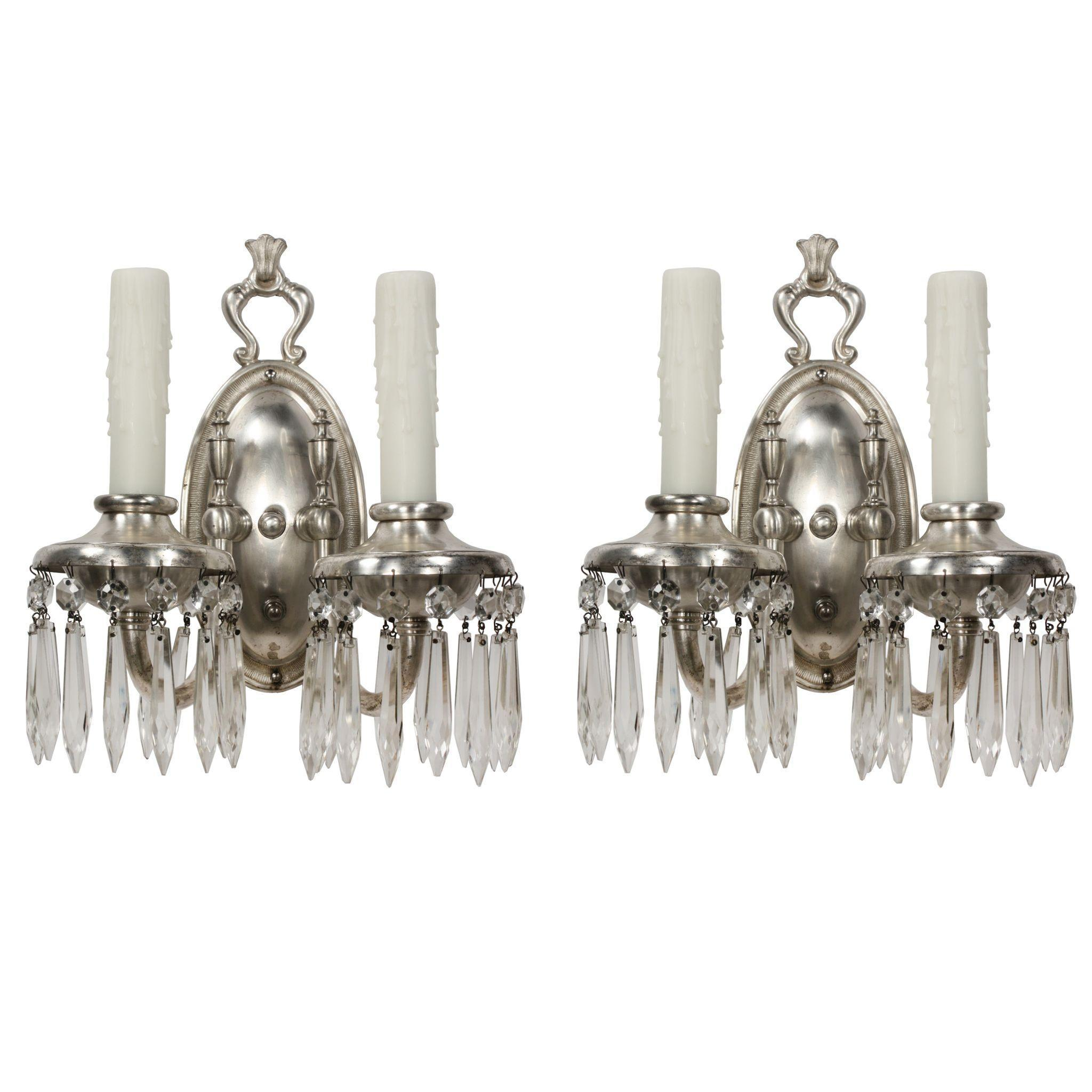 Pair of Antique Double-Arm Silver Plated Sconces