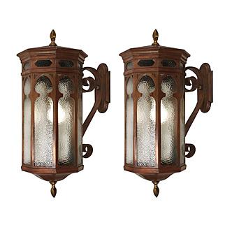Antique Bronze Gothic Revival Lantern Sconces, c.1910