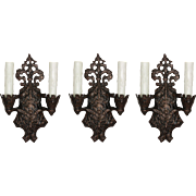 Antique Double-Arm Tudor Sconces, c.1930