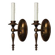 Pair of Antique Brass Colonial Revival Sconces, c.1920