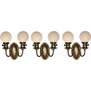 Pair of Antique Colonial Revival Brass Sconces with Globes,