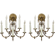 Antique Aesthetic Movement Five-Light Sconce Pair, c.1870