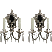 Antique Mirrored Neoclassical Sconces with Prisms