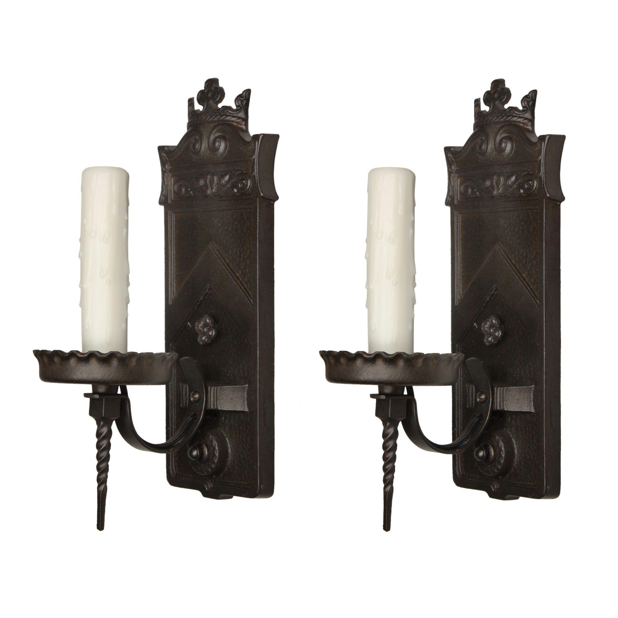 Pair of Antique Cast Iron Sconces, Signed Moe Bridges