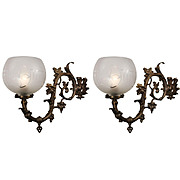 Antique Rococo Gas Sconce Pair with Maple Leaves, c.1860