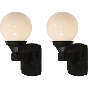 Antique Pair of Exterior Sconces with Glass Globes