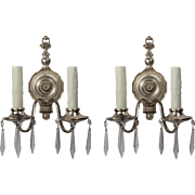 Pair of Antique Silver Plated Sconces with Prisms