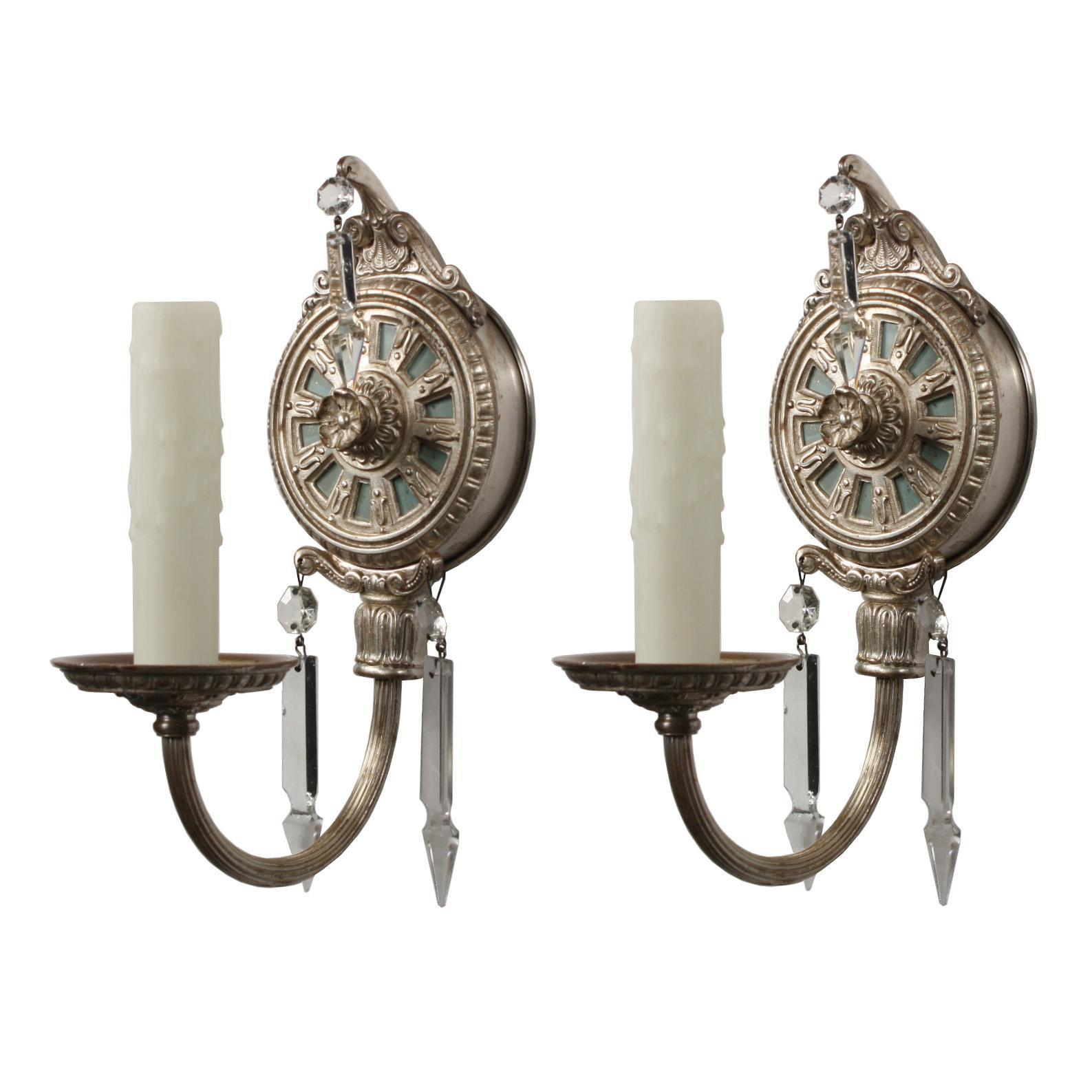 Pair of Antique Silver Plate Sconces with Spear Prisms