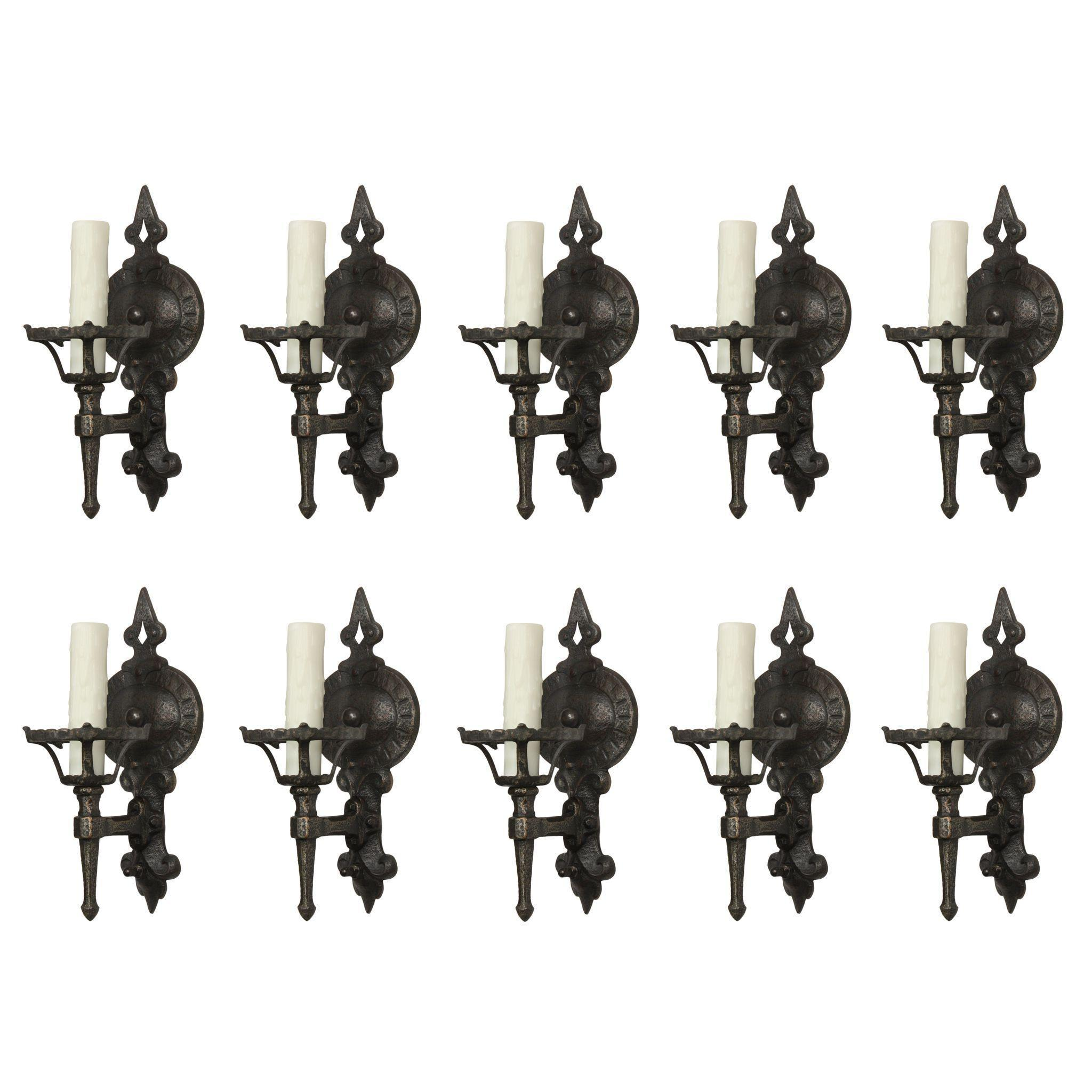 Antique Cast Iron Tudor Sconce Pairs by Lightolier