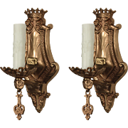 Antique Pair of Bronze Spanish Revival Sconces