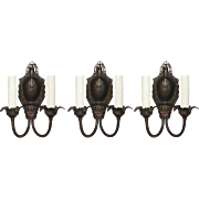 "Antique Bronze ""Empire"" Art Deco Sconces by Midwest Manufacturing"