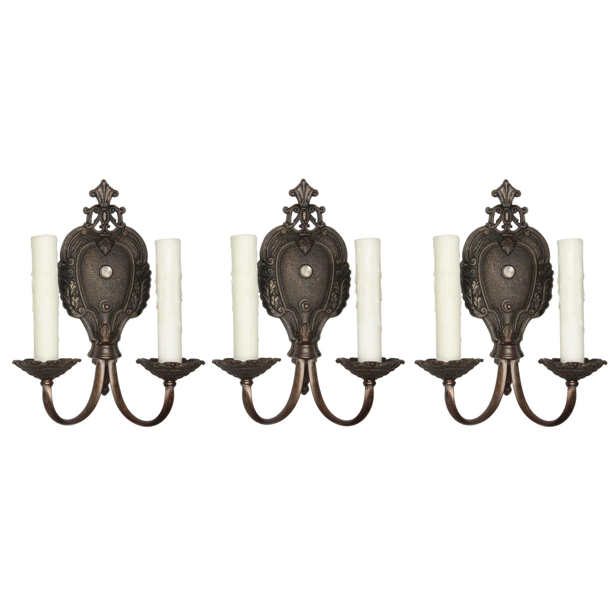 Antique Neoclassical Double-Arm Sconces by Markel
