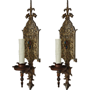 Antique Pair of Figural Spanish Revival Sconces, Original Polychrome Finish