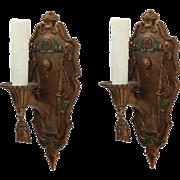 Pair of Antique Spanish Revival Sconces, Original Polychrome Finish