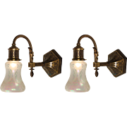 Antique Neoclassical Sconce Pair with Opalescent Acid-Etched Shades
