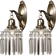 Pair of Antique Silver Plated Sconces with Original Bar Prisms