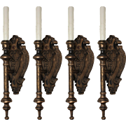 Pair of Antique Neoclassical Wood Sconces
