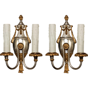 Pair of Antique Neoclassical Silver Plate and Brass Sconces, Early 1900s