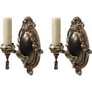 Pair of Antique Silver Plate Neoclassical Sconces, c. 1915