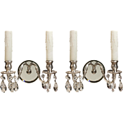 Pair of Antique Mirrored Sconces with Prisms, Silver Plated