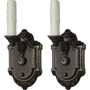Pair of Antique Single-Arm Sconces, Signed Riddle Co.