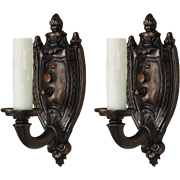Pair of Antique Adam Style Sconces by Empire