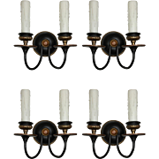 Pair of Antique Two-Tone E.F. Caldwell Double-Arm Sconces