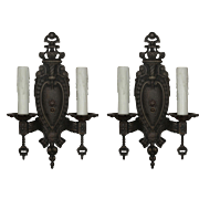 Substantial Antique Double-Arm Cast Iron Sconces
