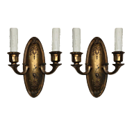 Pair of Antique Brass Neoclassical Sconces, Early 1900s