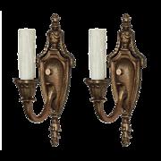 Pair of Antique Cast Bronze Adam Style Sconces