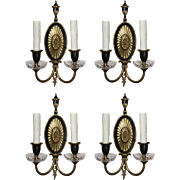Pair of Antique Two-Tone Adam Style Sconces by Sterling Bronze Co.