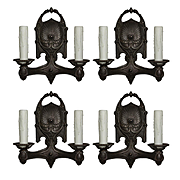 Antique Pairs of Cast Iron Double-Arm Sconces, Early 1900s