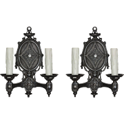 Antique Pair of Double-Arm Sconces by Radiant