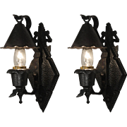 Antique Tudor Sconce Pairs with Snuffer Shades, c. 1920's