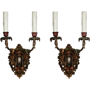 Pair of Antique Cast Bronze Sconces with Original Polychrome, c. 1910