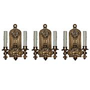 Antique Set of Gothic Revival Double-Arm Sconces, Linenfold