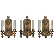 Antique Set of Gothic Revival Double-Arm Sconces, Linenfold