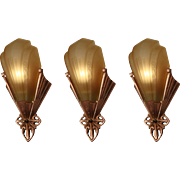 Art Deco Slip Shade Sconces, Antique Lighting