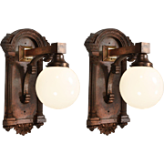 Substantial Antique Sconces with Glass Globes, Early 1900s