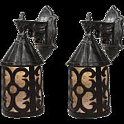 Antique Figural Tudor Lantern Sconces, Gargoyles