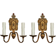 Antique Neoclassical Double-Arm Sconces, Early 1900s