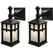 Antique Pair of Arts & Crafts Lantern Sconces, Early 1900's