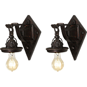 Antique Tudor Exposed Bulb Sconces