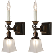 Antique Gas & Electric Sconce Pair with Glass Shades, 19th Century