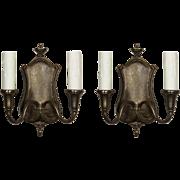 Adam Style Cast Bronze Sconces, Antique Lighting