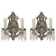 Antique Neoclassical Silver Plated Sconces with Prisms