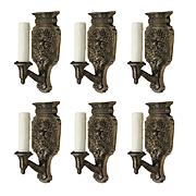 Antique Spanish Revival Sconce Pairs in Darkened Nickel